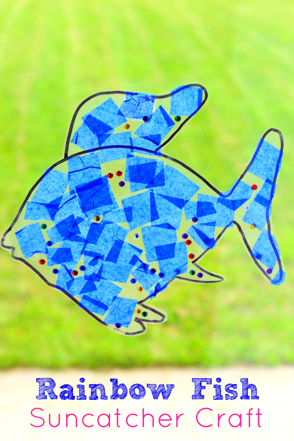 The Rainbow Fish suncatcher craft. Simple fish craft for preschoolers and toddlers.