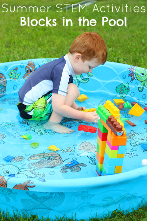 A summer STEM activity that encourages preschoolers to engineer with blocks in the pool.