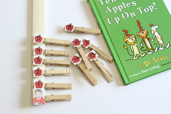 Ten Apples Up on Top book activity for learning to count and identify numbers.