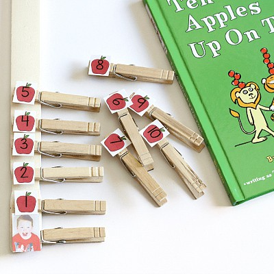 Ten Apples Up on Top counting activity. A fun fall apple math activity!