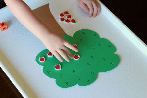 Apple tree alphabet game for preschool.