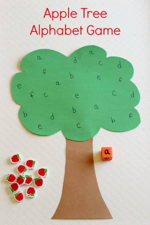 Apple Tree Alphabet Game Feature on preschool letter t worksheets