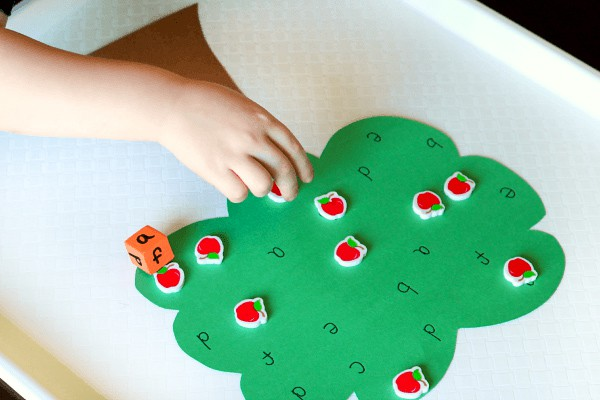 Preschool apple activity for learning letters.