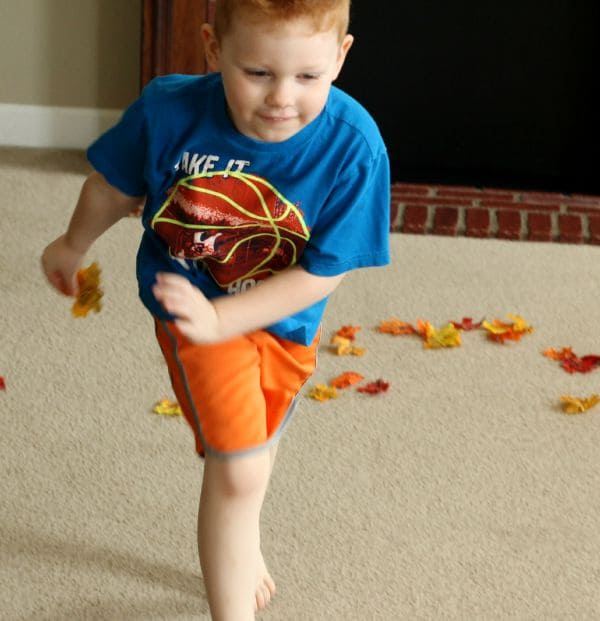 Gross motor alphabet activity for fall. A relay game with fall leaves!