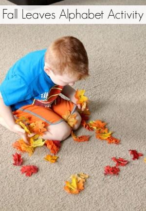 Fall leaves alphabet activity for preschoolers. A fun, gross motor alphabet game!