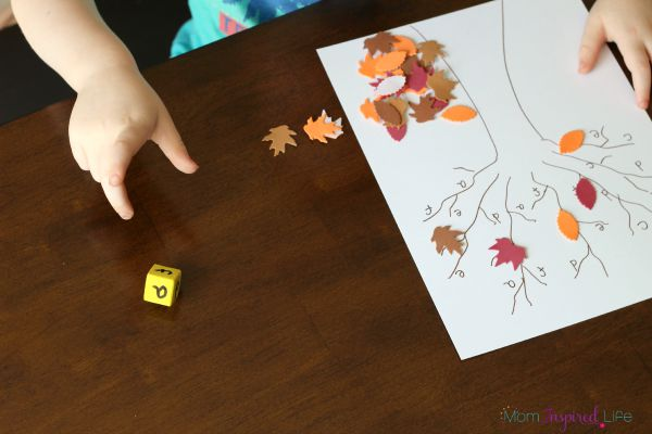 Fall theme alphabet game. Roll the dice and cover the letter.