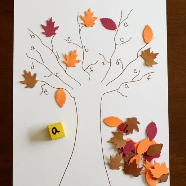 Fall tree alphabet activity for preschoolers!