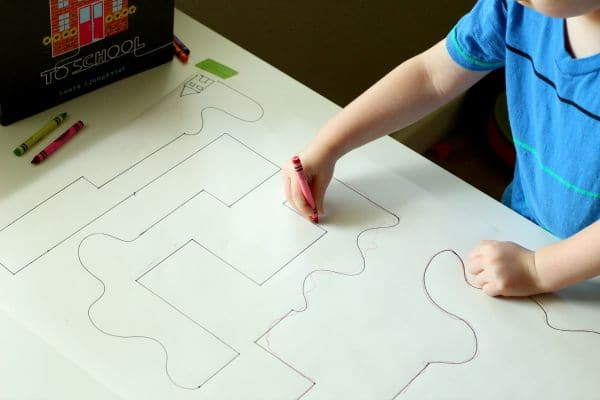 Follow the Line book activity. Teaching preschoolers to draw lines.