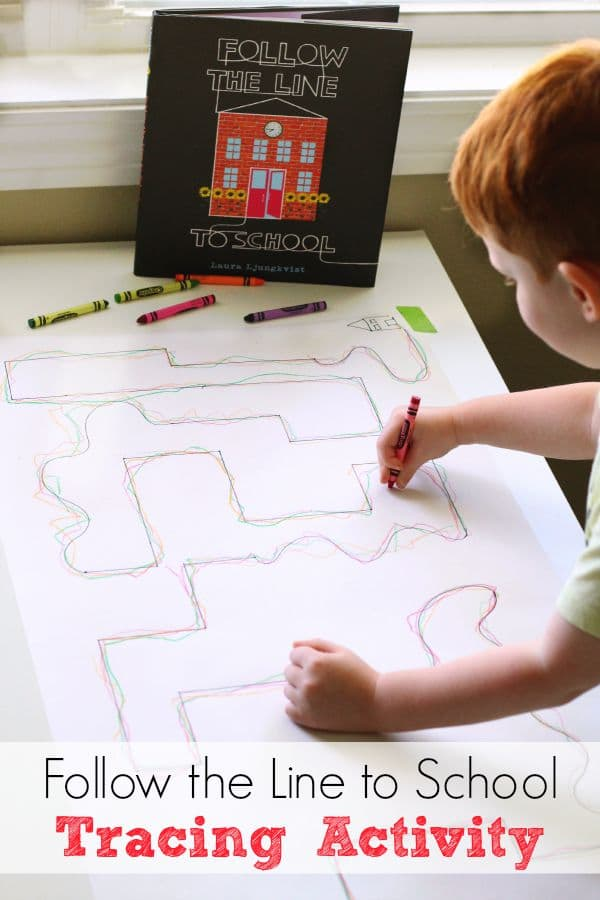 Follow the Line to School line tracing activity for fine motor development and pencil control.