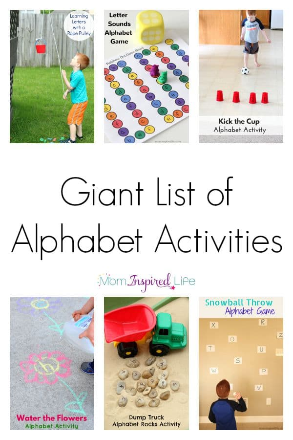 A huge list of alphabet activities for kids. Hands-on, active and fun alphabet games and activities.
