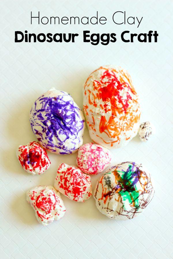 Dinosaur eggs craft using a super easy homemade clay recipe.