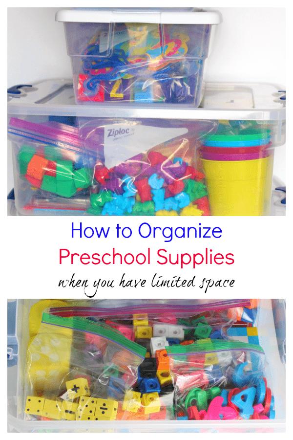 How to organize preschool supplies.