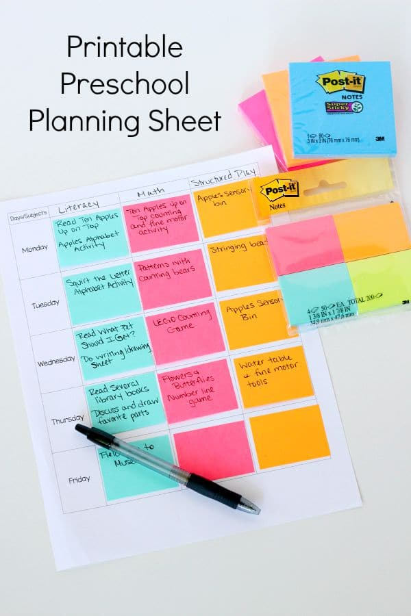 printable preschool planning sheet. Black Bedroom Furniture Sets. Home Design Ideas
