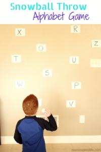 Snowball Throw Alphabet Activity. A fun gross motor alphabet game.