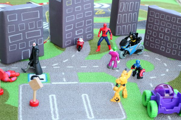 Superheroes play idea. A fun small world for superhero lovers!