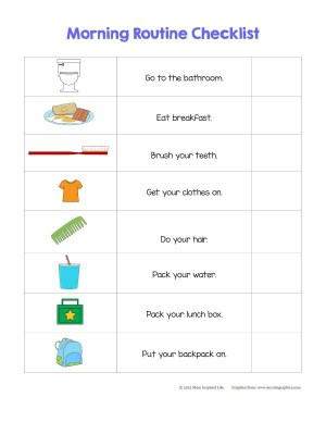 A morning routine checklist for preschoolers. Teach them to take responsibility for getting themselves ready.