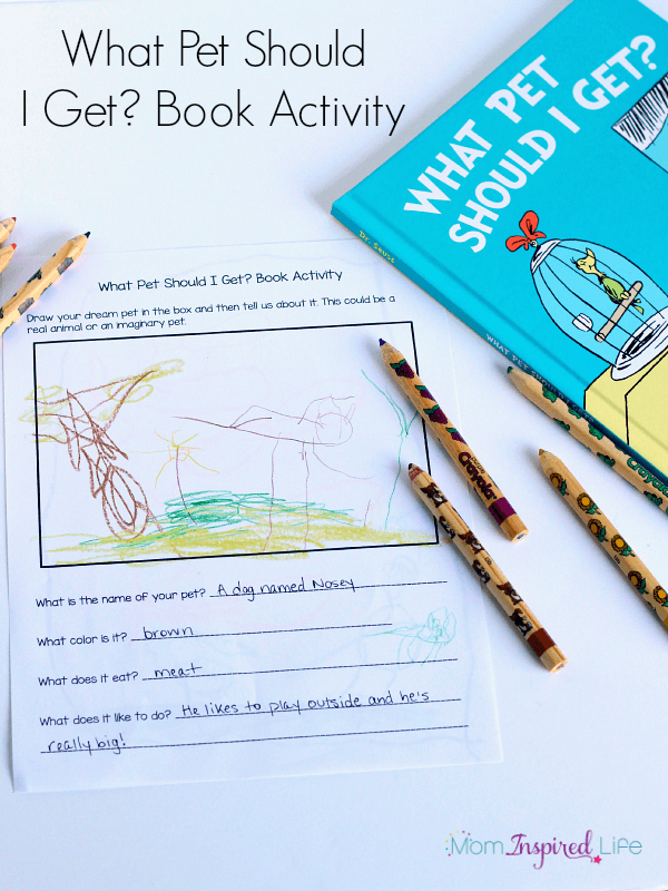 What Pet Should I Get? book extension activity for preschoolers and young kids.