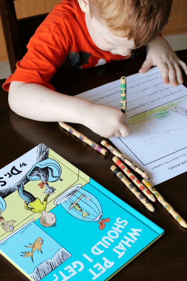 Dr. Seuss book activity for What Pet Should I Get?