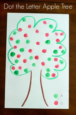 Do a dot marker apple tree alphabet activity for preschoolers.