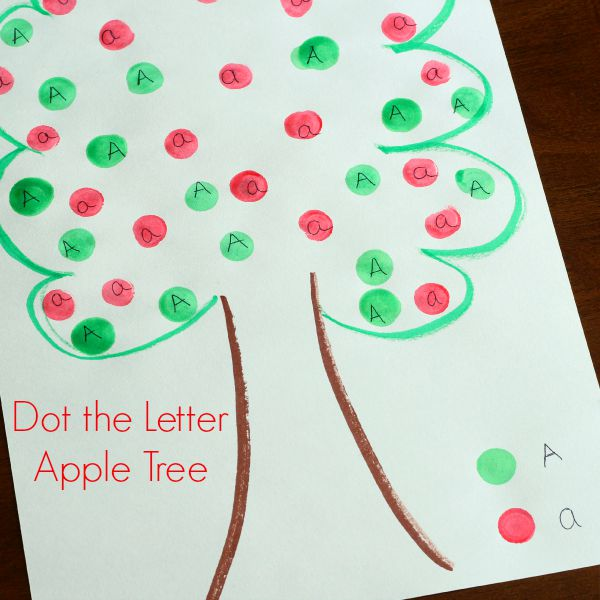 Dot the letter apple tree alphabet activity for fall!