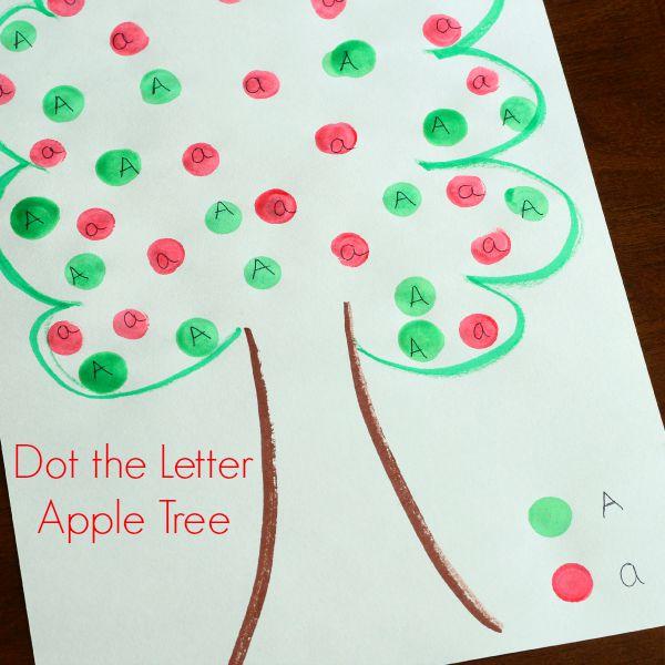 Dot the letter apple tree alphabet activity for fall!