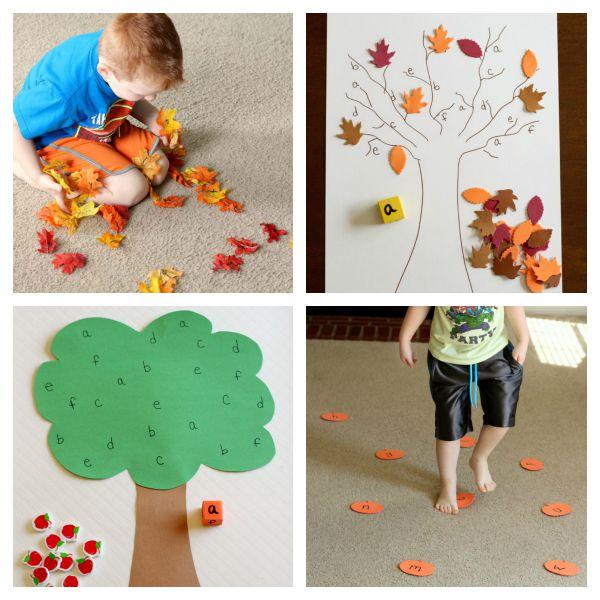 Fall alphabet games and activities for preschoolers