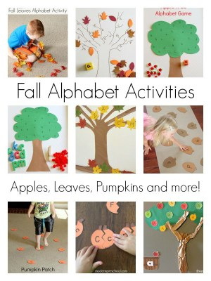 Fall theme alphabet activities for learning letters. Apples, pumpkins, leaves and more!