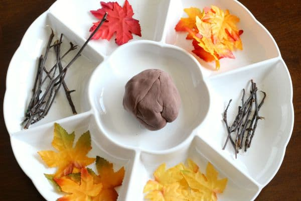 Make a fall tree with play dough, leaves and sticks.