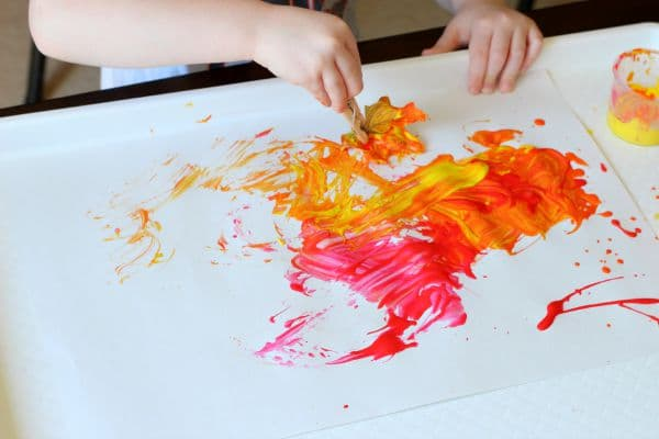 Fall colors process art painting for kids.