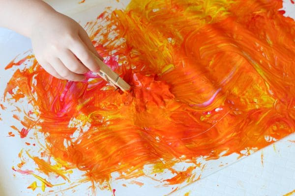 Beautiful fall process art painting activity.