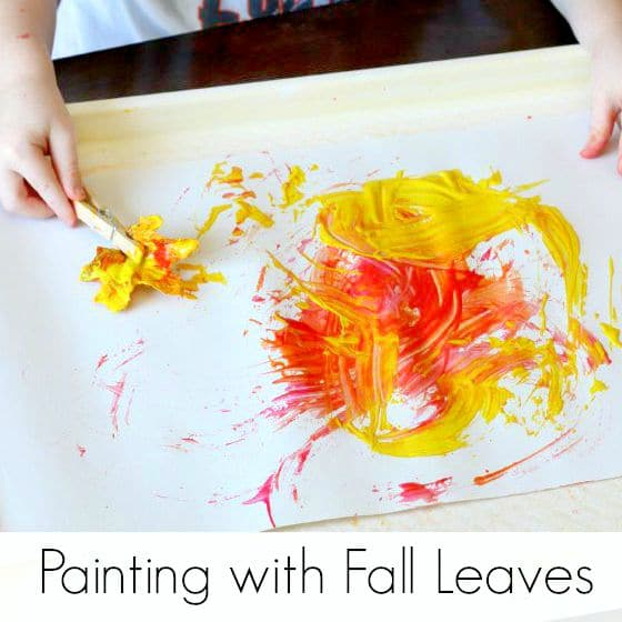 A fall process art activity for toddlers and preschoolers! Paint with fall leaves!