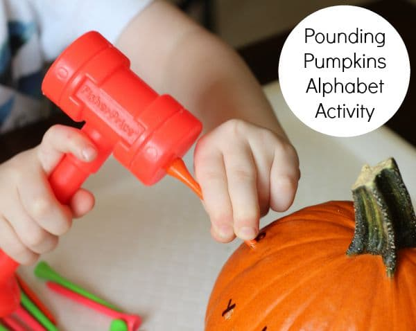 Pumpkin alphabet activity. Hammer tees into pumpkins.