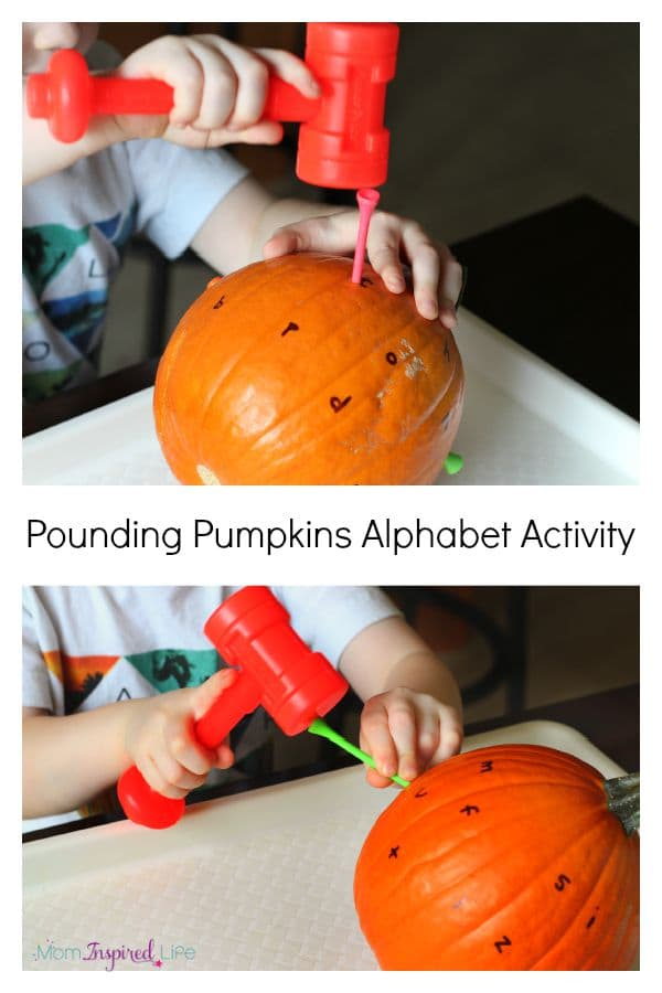 Hammering golf tees into pumpkins while learning letters of the alphabet. A fun fall activity for preschoolers!