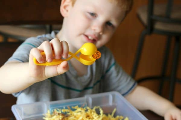 Use tweezers to pick up pumpkins and develop fine motor skills.