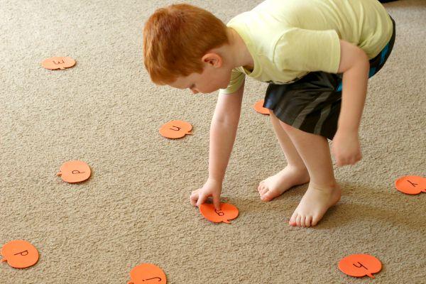 A fall alphabet activity for preschool pumpkin theme.