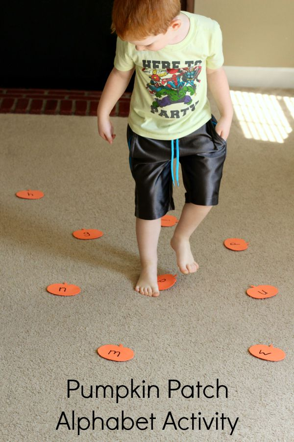 Learn letter recognition and letter sounds with a fun pumpkin alphabet activity for preschoolers!