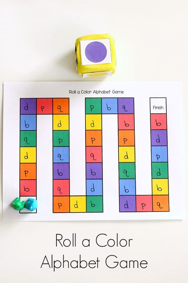 Color theme alphabet game for preschool. Letter learning board game.