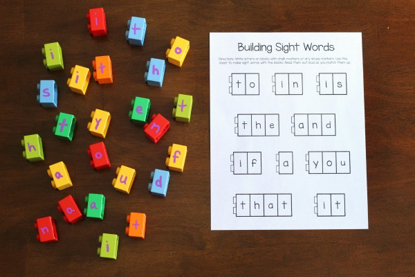 Printable sight words activity for building words with LEGO.