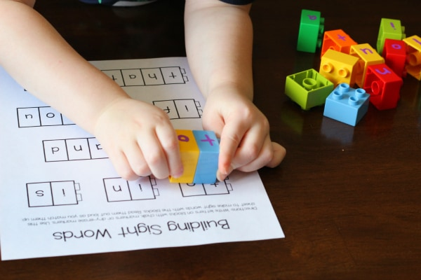 Building sight words with Duplo blocks.