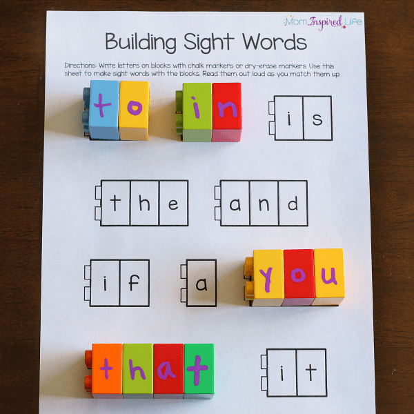 Building sight words activity with blocks.