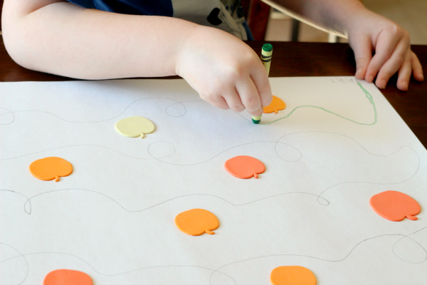 Fall tracing activity for fine motor practice.