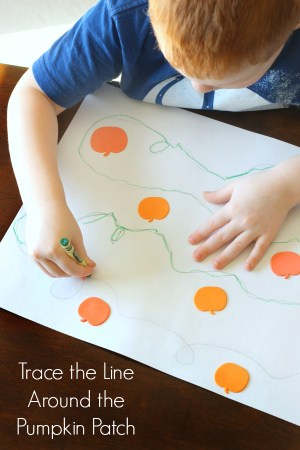 Pumpkin line tracing activity for fine motor development, pencil grasp, pencil control and handwriting practice. A fun pre-writing activity for preschool and kindergarten learners.