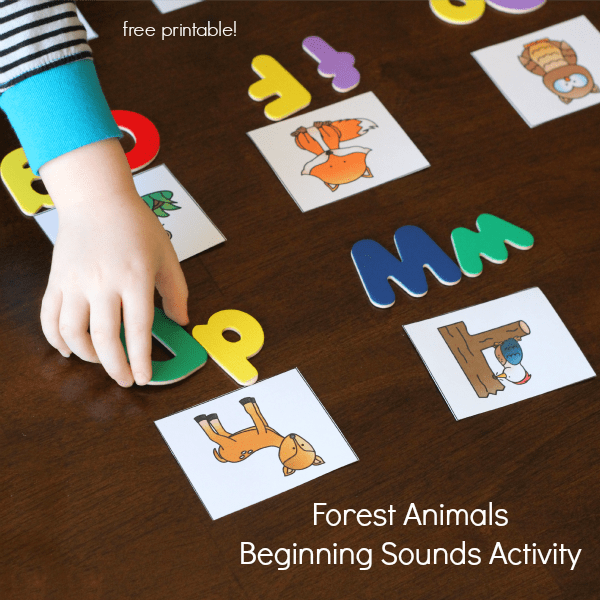 Forest animals beginning sounds activity. Kids will learn about the forest habitat with this fun alphabet activity!