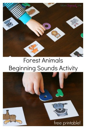 Teaching beginning sounds with a forest habitat theme activity for preschool. Learn letter sounds while exploring forest animals.