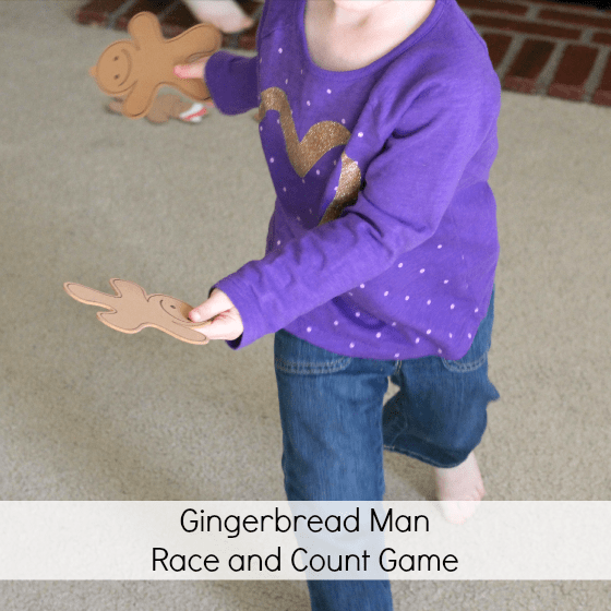 Gingerbread Man gross motor game that teaches counting.