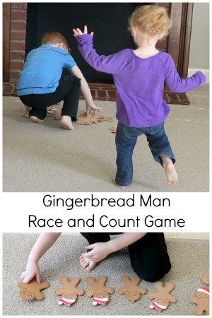 Gingerbread man gross motor game. A fun Christmas party game and a great way to practice counting!