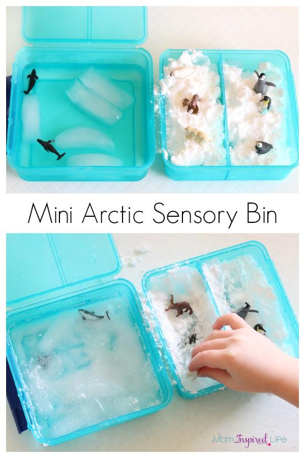 Arctic habitat sensory bin and pretend snow recipe to go with it. A fun winter sensory bin for toddlers and preschoolers!