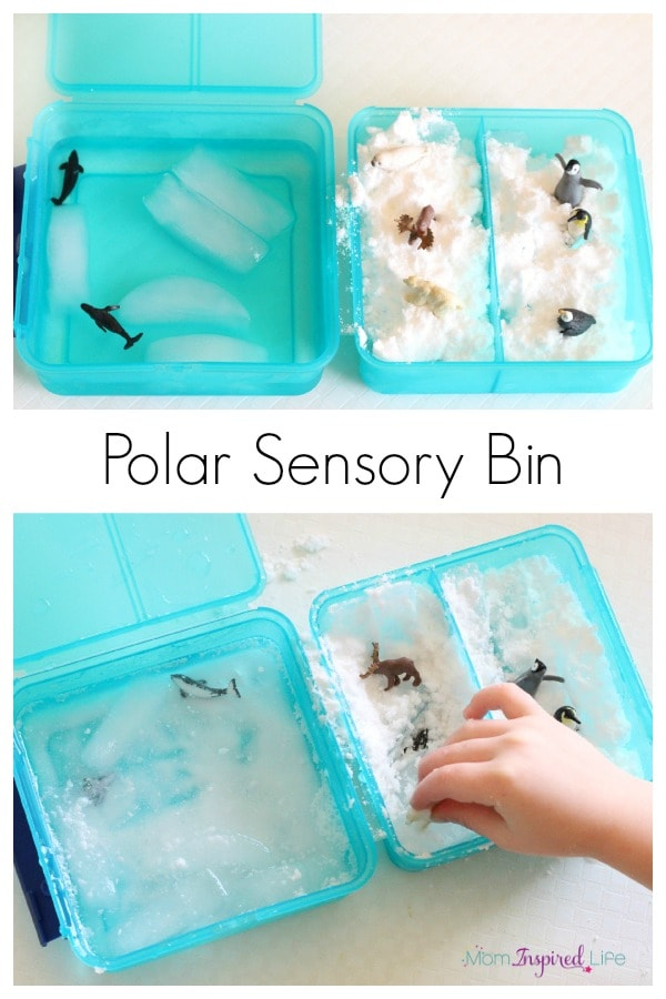 Polar sensory bin. A fun winter activity for kids. Plus, a fake snow ice recipe.