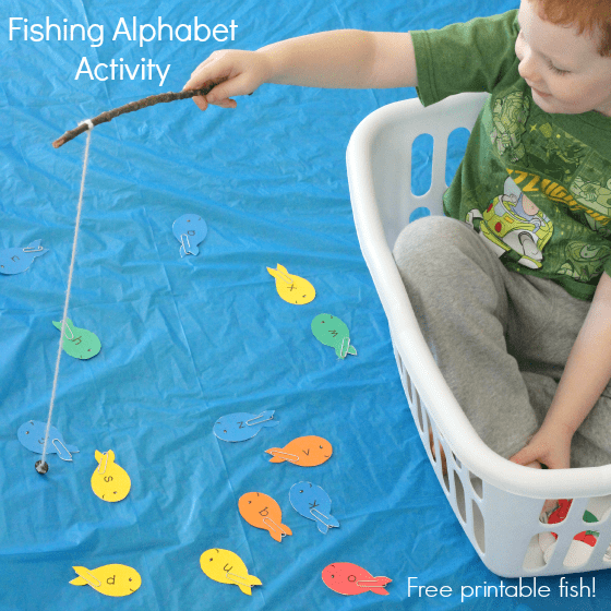 Pretend play fishing activity that teaches letter identification, letter sounds, colors and more!