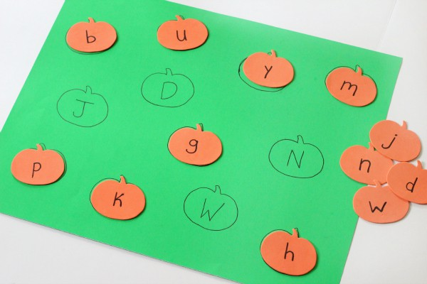 Uppercase and lowercase letter matching with pumpkins.